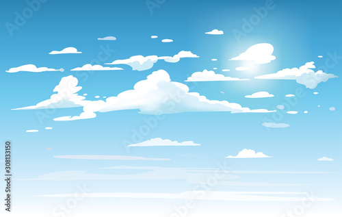 Vector blue sky clouds. Anime clean style. Background design - 308133150