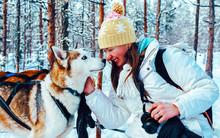 Woman With Husky Family Dog Sl...