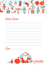 A4 Christmas Letter To Santa Claus Template. Decorated Paper Sheet With Santa Character Illustration And Hand Drawn Pattern With Xmas Decor.