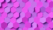 canvas print picture - Abstract pink and purple hexagon background; honeycomb pattern composition 3d rendering