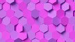 canvas print picture - Pink and purple hexagon background; abstract honeycomb pattern composition 3d rendering