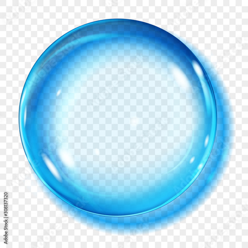 Big translucent light blue sphere with glares and shadow on transparent background. Transparency only in vector format Fotomurales