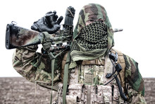 Army Sniper Standing In Field ...