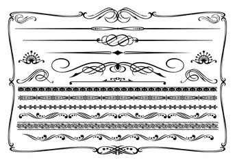 Vector (black & white) western themed design elements.