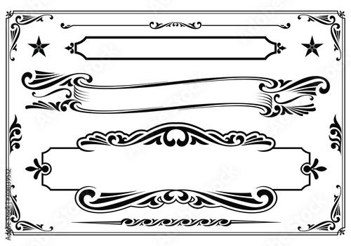 Fototapeta Vector black & white western themed banner design elements. obraz