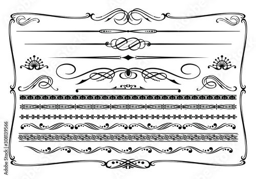 Vector (black & white) western themed design elements. Tableau sur Toile