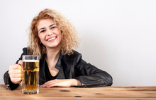 Alcoholic Woman Drinking Beer