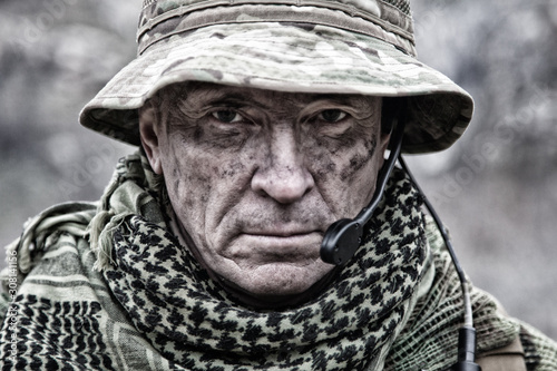 Experienced military army soldier commander close-up portrait Fotobehang