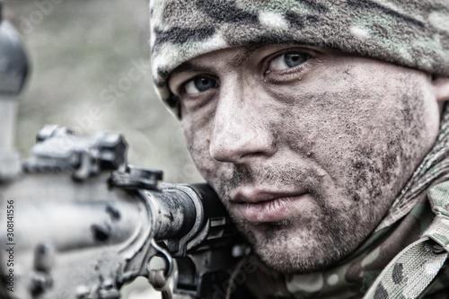 Army soldier infantryman shooting with service rifle Fototapet