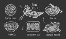 Illustration Of Thai Traditional Cuisine On Black Background.
