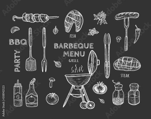 Obraz na płótnie barbeque objects set on black background.