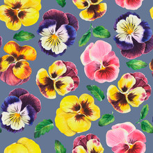 Floral Pattern With Pansies, W...