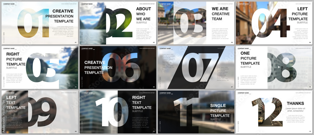 Fototapeta Minimal presentations design, portfolio vector templates with numbers. Easy to edit and customize. Multipurpose template for presentation slide, flyer leaflet, brochure cover, report, advertising.