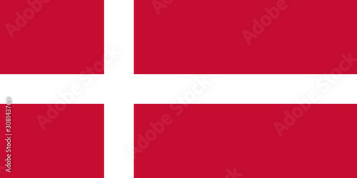 Danish national flag with official colors. Wallpaper Mural