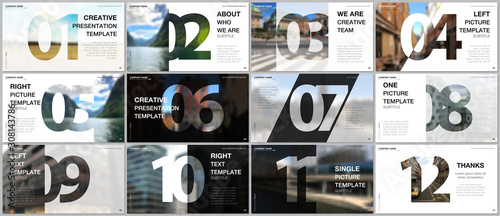 Fototapeta Minimal presentations design, portfolio vector templates with numbers. Easy to edit and customize. Multipurpose template for presentation slide, flyer leaflet, brochure cover, report, advertising. obraz
