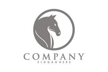 Simple horse head logo icon, horse Mascot logo template on white background