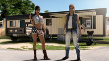 Funny American Trailer Trash Couple With Mobile Home