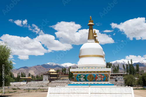 Ladakh, India - Jul 03 2019 - Tibetan Stupa at The Dalai Lama's Palace (JIVETSAL / His Holiness Photang) in Choglamsar, Ladakh, Jammu and Kashmir, India Fototapeta