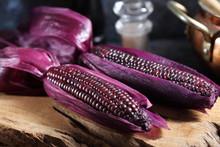 Boiled Purple Corn On Wooden T...