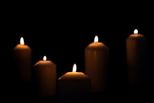 Five Light Flame Candle Burning Brightly