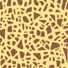 Giraffe Texture. Seamless Animal Pattern. Imitation Print Of Skin Of Giraffe. Brown Spots On Yellow Background. Vector Safari Textiles