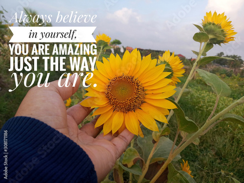 Inspirational motivational quote - Always believe in yourself Canvas Print