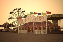 Vintage Carnival With Rides At...