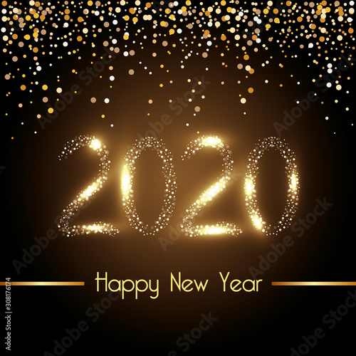 Fotografie, Obraz  Happy new year 2020 design, Welcome celebrate greeting card happy decorative and