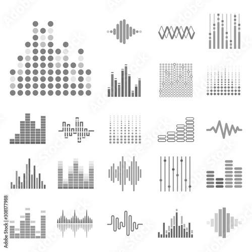 Photo Sound waves and audio digital equalizer icons collection in grey