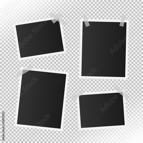 Fototapeta set of realistic vector photo frame on transparent background. vector illustration with adhesive tapes. real size photo. obraz na płótnie
