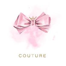 Tender Illustration Of A Pink Satin Bow
