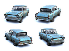 Set Of 3d-renders Of Old Rusty...