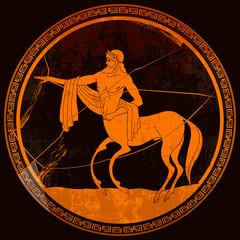 Fototapeta Architektura Centaur. Meander circle style. Red figure techniques. Ancient Greece. Mythology and legends. Greek vase painting