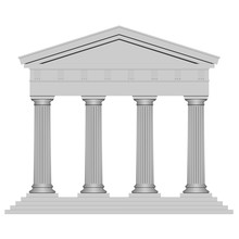 3D Ancient Temple With Four Columns Isolated On White Background