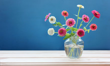 Delicate Bouquet With Pink Zinnias On A Blue Background.