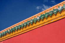 The Forbidden City Wall Under The Blue Sky And White Clouds