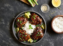 Grilled Chicken Thighs With Rice
