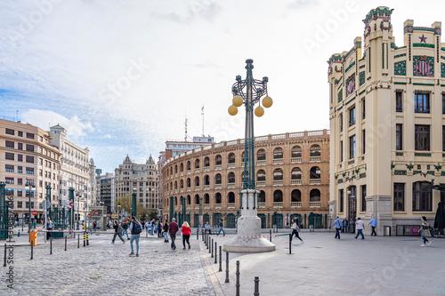 Square to the Plaza de Toros de Valencia and the Train Station Estacio del Nord in Valencia, Spain
