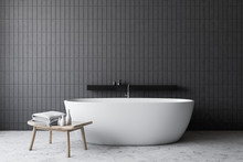 Gray Tile Bathroom With White ...