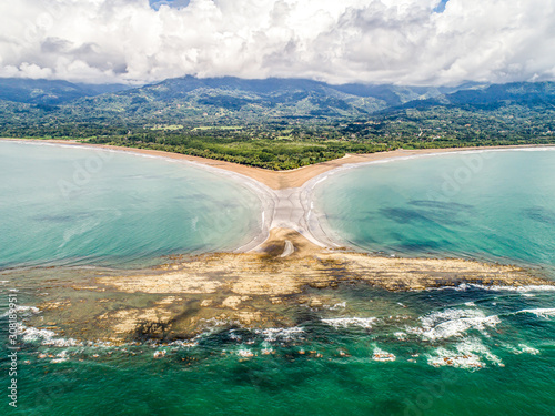 Aerial view National Park Punta Uvita Beautiful beach tropical forest pacific co Canvas Print