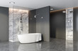 canvas print picture - Grey and marble bathroom corner, tub and shower