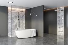 Grey And Marble Bathroom Corne...