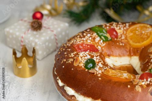 Spanish Christmas cake, Roscon de reyes , desert eaten in Spain for celebrate Epiphany or Dia de Reyes Magos, Three Wise Men Day Wallpaper Mural