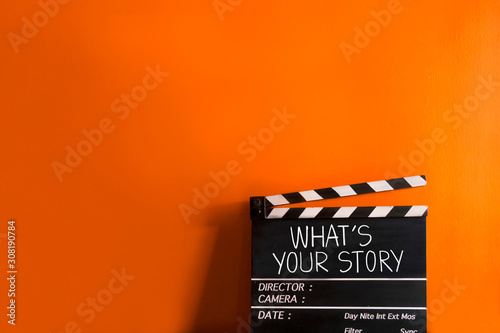 Photo What's your story.text title on movie clapper board