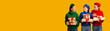 Leinwandbild Motiv Three Girls Holding Gifts Standing In Studio Over Yellow Background