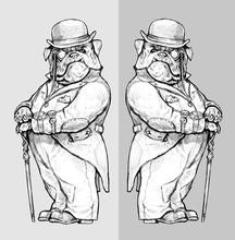 English Bulldog In The Mirror. Steampunk Dog Drawing. Dog Like A Human.