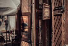 Old Wooden Door In Old City. B...