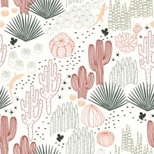 Mexican Seamless Pattern With Cacti, Succulents And Lizards, Wilderness, Environment, Landscape. Vector Hand Drawn Illustration In Vintage Style On Ivory Background.