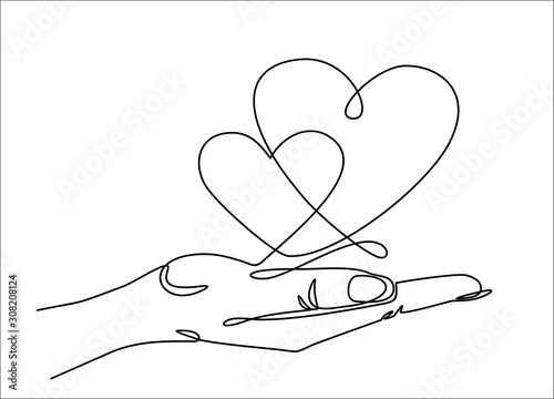 One continuous line drawing of hand holding heart. Vector illustration. St. Valentine's Day