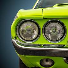 Headlights Of A Bright Green A...